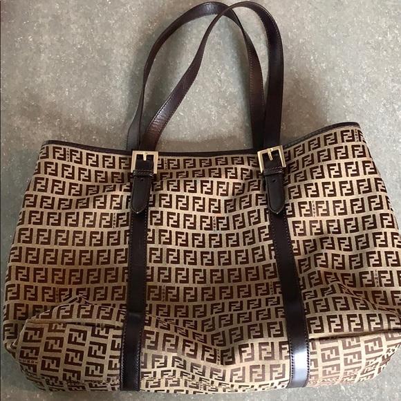 """bceb9d2a3ef2 Fendi Handbags - Fendi signature """"F"""" brown tan tote bag"""